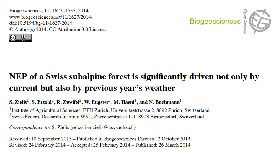 Publication in Biogeosciences: Previous-year weather determines forest NEP